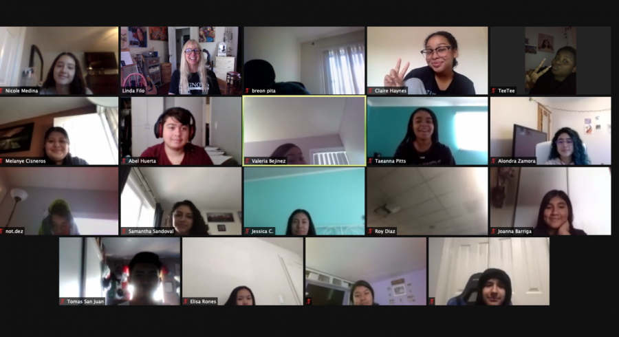 '20-'21 Yearbook Class on zoom. (Photo courtesy of Linda Filo)