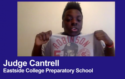 Junior Judge Cantrell speaking at virtual event in honor of Martin Luther King, Jr. on Jan. 17. Screenshot by Stephanie Xiloj.