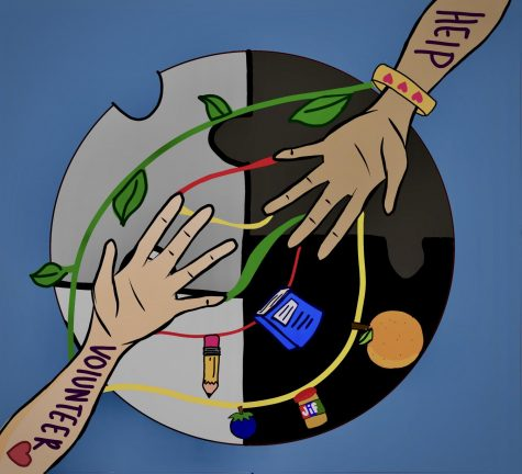Illustration by Jocelyn Urbina to represent connections made through volunteering
