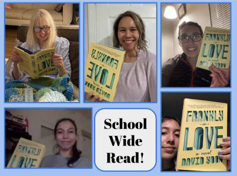 "Students and Staff with their copies of ""Frankly in Love"". (Photos courtesy of Tina Ehsanipour)."