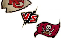 Logos for the Kansas City Chiefs and the Tampa Bay Buccaneers. Photos courtesy of Charlie Lyons-Pardue via Creative Commons. Photo illustration by Gaby Sainz-Medina.