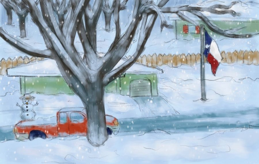 Illustration of homes in Texas covered in snow.