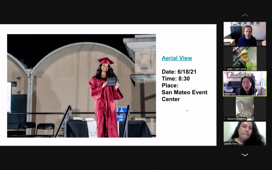 Screenshot of the senior class Zoom meeting on Apr. 22, showing the invitation for this year's graduation ceremony on June 18.