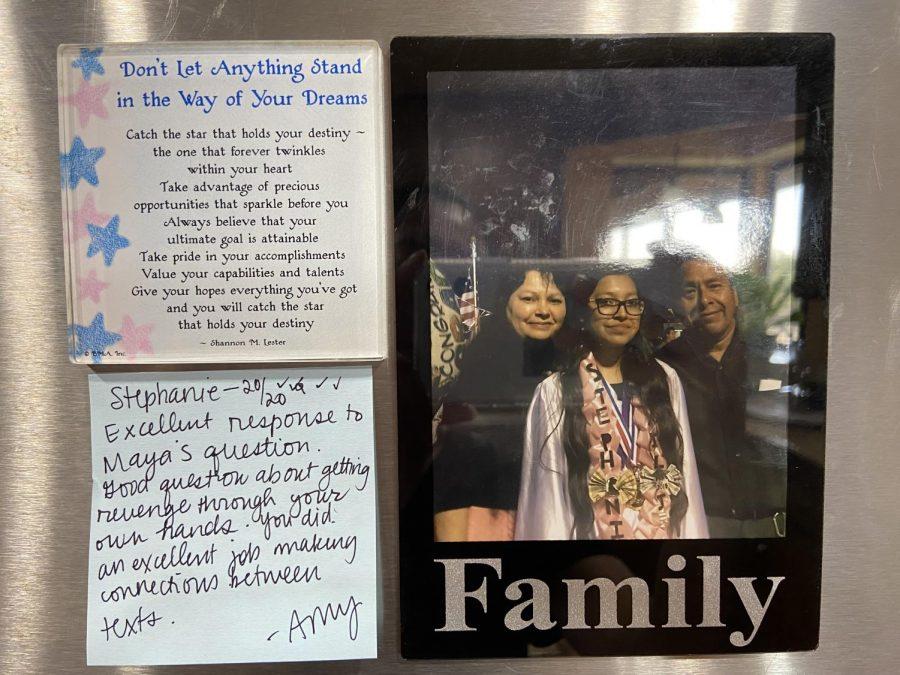 Socratic seminar post-it note on my refrigerator